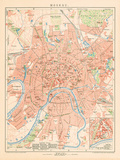 'Moskau' - A Map Of Moscow, 1892 Giclee Print by Friedrich Arnold Brockhaus