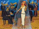 Jazz Orchestra in Blue Giclee Print by Marsha Hammel