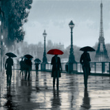 Paris Red Umbrella Giclee Print by Robert Canady