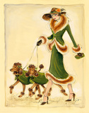 Prancing Poodles Giclee Print by Dupre 