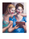 Blue Girls Giclee Print by Rachel Deacon