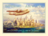 Imperial Airways - London to New York Giclée-tryk
