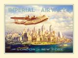 Imperial Airways - London to New York Giclée-tryk
