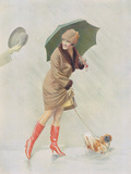 Girl with Boots and Dog Giclee Print by  The Vintage Collection