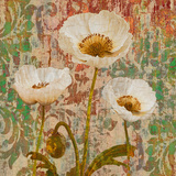 Poppies Crackle Giclee Print by Tania Bello