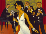 Marsha Hammel - Ensemble with Green Curtain (Lady in White) - Giclee Baskı