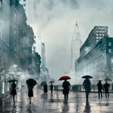 New York Red Umbrella Giclee Print by Robert Canady