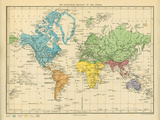 Map of the Zoological Regions of the World Giclee Print