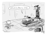 A greasy plate of pancakes, bacon, and eggs speaks to a cup of coffee, ban… - New Yorker Cartoon Premium Giclee Print by Farley Katz