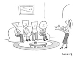(A woman serves drinks on a tray of various cocktail glasses, to 4 guests … - New Yorker Cartoon Premium Giclee Print by Liza Donnelly