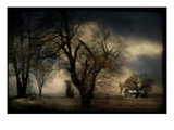 A Blurred Country Scene with Trees and Farm Building Photographic Print by Mia Friedrich