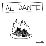 "A plate of spaghetti and meatballs is burning in flames. Title: ""Al Dante""… - New Yorker Cartoon Giclee Print by Ariel Molvig"