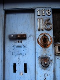 An Old Blue Front Door with Broken Fittings Photographic Print by Jason Martin