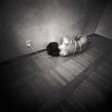 A Naked Woman Tied with Electric Flex Lying on the Floor of a Room Photographic Print by Rafal Bednarz