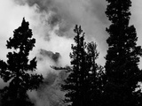 Colorado Mountain Landscape with Trees and Clouds, Sangre De Cristo Range in Black and White Photographic Print by Kevin Lange