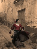 A Spanish Woman Walking Along a Traditional Spanish Street Wearing a Flamenco Style Dress Photographic Print by Steven Boone