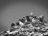 Cross on Top of Sandia Mountain Boulder Mound Landscape in Black and White, New Mexico Photographic Print by Kevin Lange