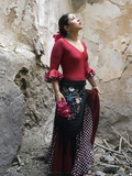 A Young Spanish Woman Wearing Traditional Flamenco Dress Photographic Print by Steven Boone