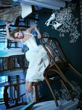 A Young Victorian-Styled Woman Falls from Her Chair at a Fancy Location Photographic Print by  Winter Wolf Studios
