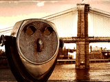 Telescope and Brooklyn Bridge, Manhattan, New York City Photographic Print by Sabine Jacobs