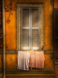 Wooden Window Slats and Washing on a Line Photographic Print by Craig Satterlee