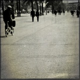 People Walking and Cycling Along a Pedestrian Area Photographic Print by Eudald Castells