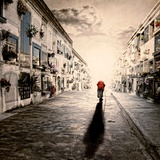 An Old Woman Walking in a Cementery Photographic Print by Luis Beltran