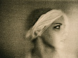 Head Shot of Young Female Model, Head Wrapped in Gauze Photographic Print by Susan de Witt
