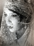 A Young Womans Face Covered in Netting Photographic Print by  RedHeadPictures