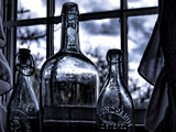 Vintage Bottles on Window Sill. Photographic Print by Sabine Jacobs