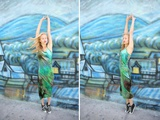 Young Carefree Woman Dancing Near a Colorful Mural Based on Van Gogh's Starry Night Photographic Print by Jena Ardell