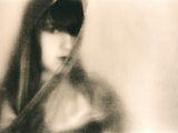 Darkhaired Young Woman Wrapped in Shawl Photographic Print by Susan de Witt
