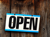 Open Sign on Shop Door. Photographic Print by Sabine Jacobs