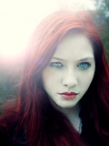 Girl with Red Hair and Light Behind Her Photographic Print by Elizabeth May