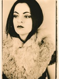 Nostalgic Portrait of Beautiful Young Woman Wrapped in Large Fur Collar Photographic Print by Susan de Witt