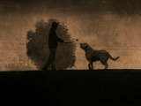 A Man, a Bush and a Large Dog Photographic Print by Susan Bein