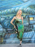 Young Blonde Woman Wearing 90S Style Grunge Era Clothing Leaning Against a Colorful Mural Photographic Print by Jena Ardell
