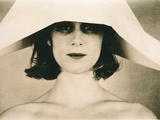 Head and Shoulders Portrait of Model in Oversized Paper Hat Photographic Print by Susan de Witt