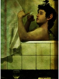 A Young Man Sitting in the Bath Smoking a Cigarette Photographic Print by Marco Diaz