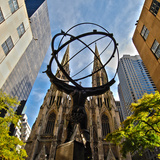 Atlas Sculpture and St. Patrick's Cathedral, Manhattan, New York Photographic Print by Sabine Jacobs