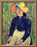 Young Peasant Girl in a Straw Hat Sitting in Front of a Wheatfield, 1890 Framed Giclee Print by Vincent van Gogh