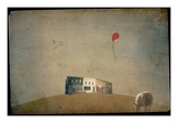 A Sheep a Red Balloon Building Photographic Print by Mia Friedrich