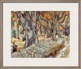 Road Menders in a Lane With Heavy Plane Trees Framed Giclee Print by Vincent van Gogh