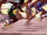 Detail of the Start of a Men's 100 Meter Sprint Race Photographic Print