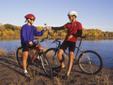 Couple Mountain Biking in Fall Photographic Print