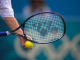 Detail of Tennis Racquet and Ball Photographic Print