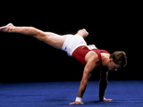 Male Gymnast Performing on the Floor Exercise Photographic Print