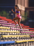 Black Woman Running Up Stairs Photographic Print