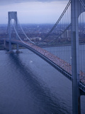 Runners Crossing the Verrazano Bridge after Starting the 1994 New York City Marathon Photographic Print