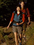 Couple on a Hike in the Woods Photographic Print